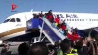 لحظة وصول المنتخب مطار القاهرة