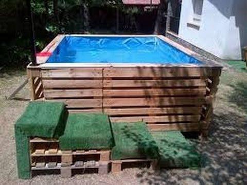 stupenda piscina fatta con i pallet - ideale per l'esterno
