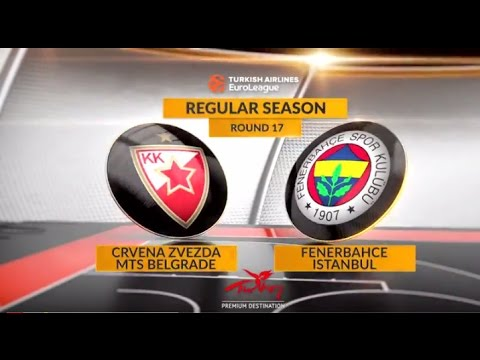 EuroLeague Highlights RS Round 17: Crvena Zvezda mts Belgrade 75-73 Fenerbahce Istanbul