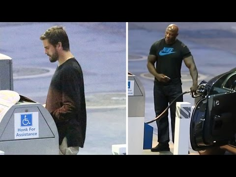 Scott Disick Puts Burly Bodyguard To Work At The Gas Pump