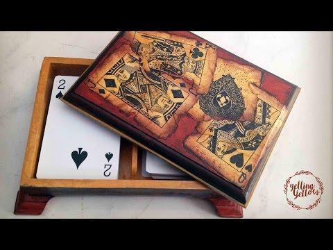 decoupage legno - scatola per le carte da gioco