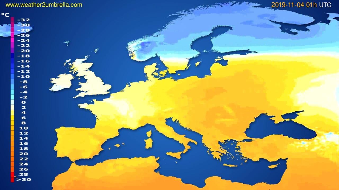 Temperature forecast Europe // modelrun: 12h UTC 2019-11-02