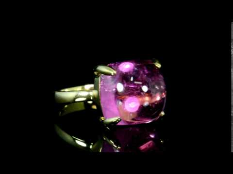 Lady's 18k Yellow Gold Rubellite Ring, Signed Tiffany & Co. 'Sugarstack' Series by Paloma Picasso