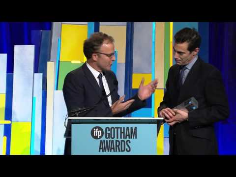 Tom McCarthy and Josh Singer winning the Best Screenplay 2015 Gotham Award for SPOTLIGHT