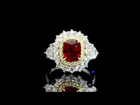 GIA Certified 3.03ct Cushion Cut Unheated Ruby and Diamond Ring