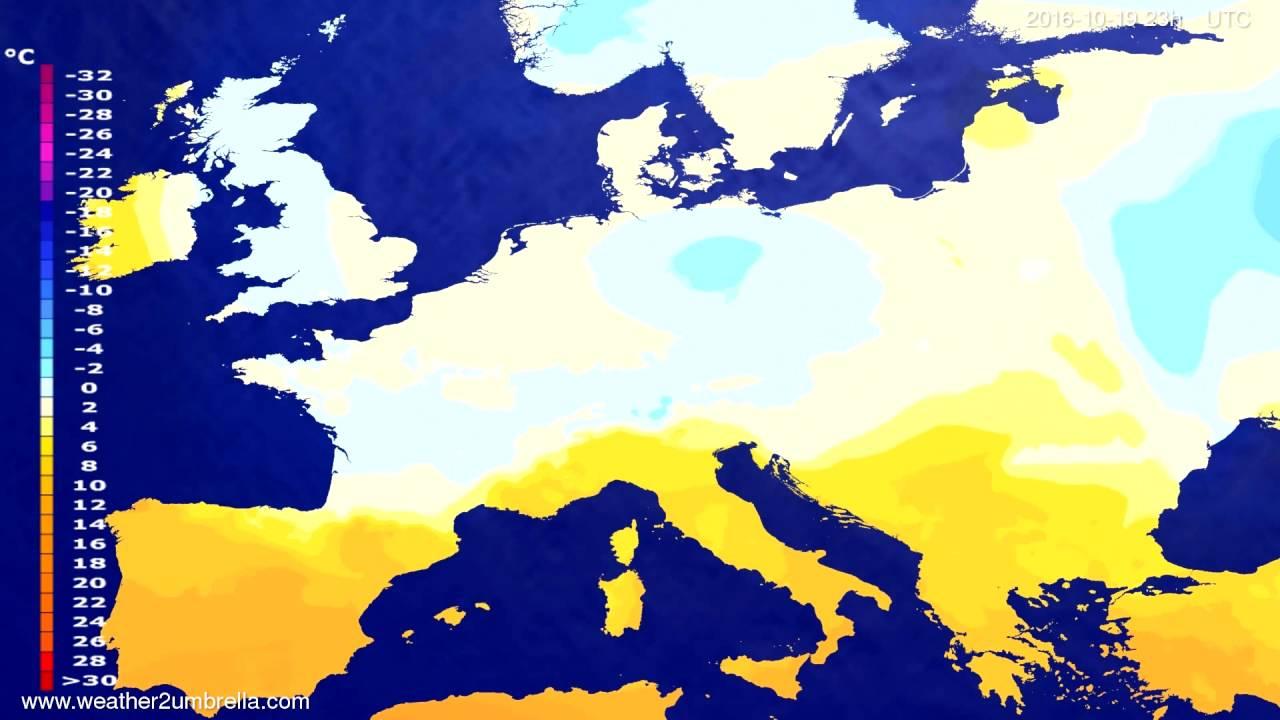 Temperature forecast Europe 2016-10-16