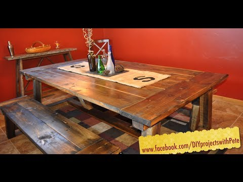 white table - http://www.DIYPETE.com/farmhousetable - The most complete and in-depth video on how to build a farmhouse table. DIY PETE shows the entire process from start ...