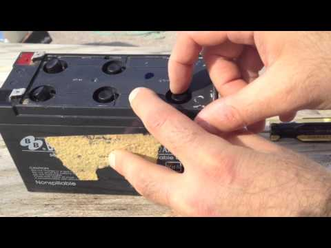 Battery - http://screwdecaf.cx/dp2.html Mikey shows how to clean, open, refill, desulfate and test a totally dead sealed lead acid battery. - UPS (Uninterruptible powe...