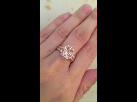 Rose Gold Morganite Engagement Ring and Diamond Wedding Band Bridal Set by La More Design