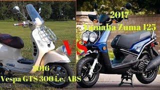 6. AMAZING..!!! 2017 Yamaha Zuma 125 VS 2016 Vespa GTS 300 i e  ABS