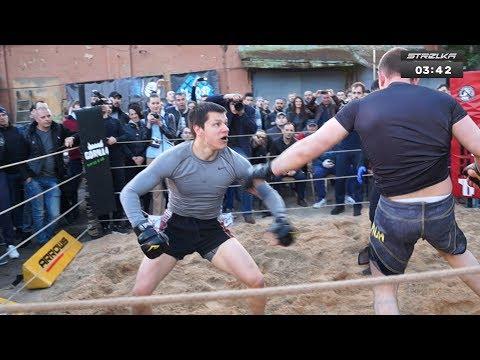 Dwóch typów z widowni zdecydowało się na walkę z zawodnikiem MMA! Rozwalił obu!