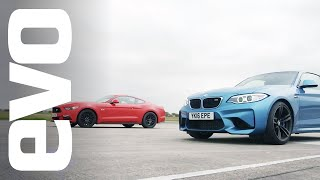 Ford Mustang 5.0 GT vs BMW M2 - Which is fastest? | evo DRAG BATTLE by EVO Magazine