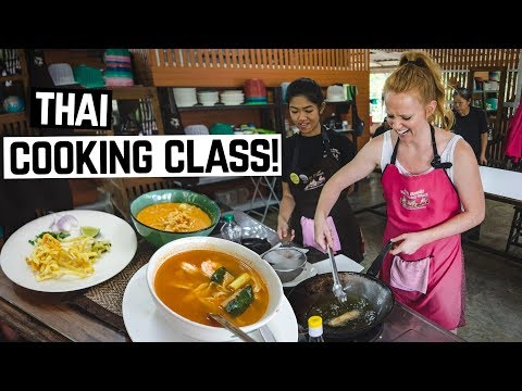 THAI FOOD COOKING CLASS! - Tom Yum, Khao Soi, Hot Basil And MORE! (Chiang Mai, Thailand)