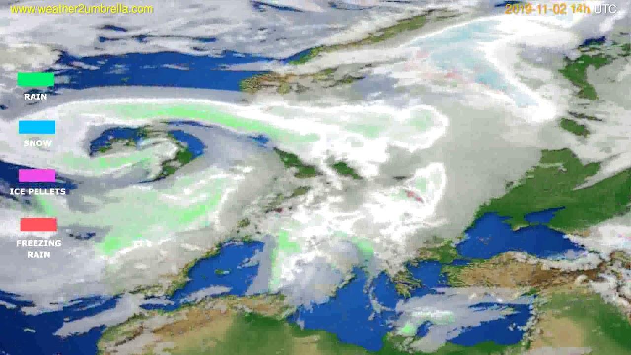 Precipitation forecast Europe // modelrun: 12h UTC 2019-10-31