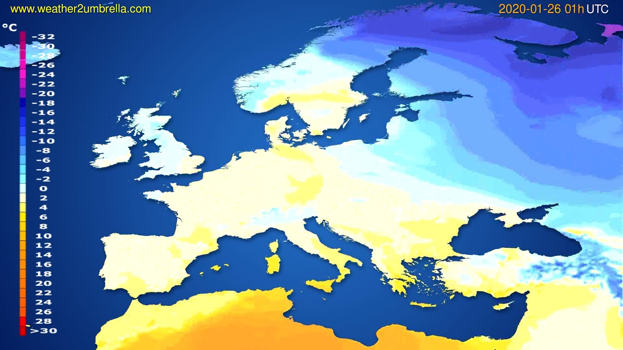 Temperature forecast Europe // modelrun: 12h UTC 2020-01-24