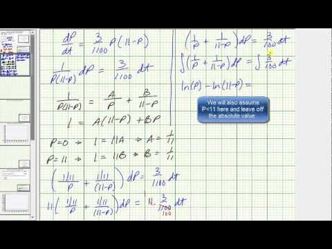 Ex 1: Solve an Autonomous DE IVP - Logistic Growth Using Separation of Variables