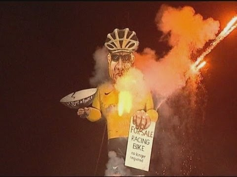 Lance Armstrong burns as bonfire guy