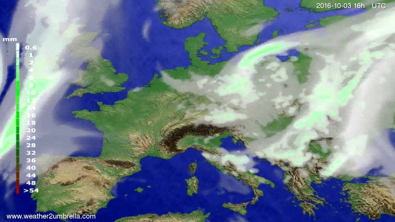 Precipitation forecast Europe 2016-09-30