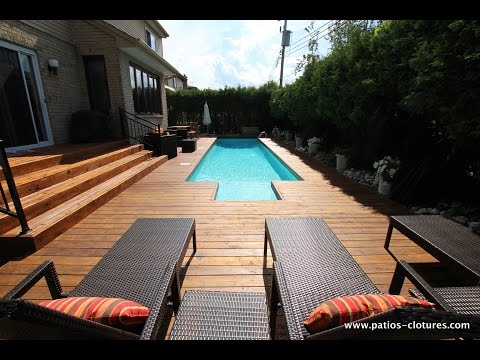 terrasse en bois autour d une piscine. Black Bedroom Furniture Sets. Home Design Ideas