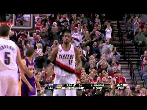Rudy Fernandez to LaMarcus Aldridge against the Lakers