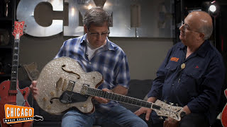 """Industry and guitar building legends Stephen Stern and Joe Carducci stopped by our store last week to talk shop, grab some Red Hots, and take a look at our recently aquired Gretsch Custom Shop Double Cutaway Falcon in White Moto!Hand-built by master builder Stephen Stern, this one-off Falcon comes in a unique """"drum wrap"""" White Moto, never before applied to a Gretsch guitar.  Stephen and Joe gave us some great insight before Jeff took the Falcon for a spin.Gear Used:Gretsch Custom Shop Double Cut Falcon Center-Block White Moto Top (https://goo.gl/CbwnEU)Fender Vintage Modified '68 Custom Twin Reverb Silverface(https://goo.gl/TdQkji)Riffs: """"Cannonball Rag"""" by Merle Travis"""