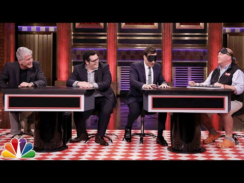 Tonight Show Food Pyramid with Anthony Bourdain Mario Batali and Josh