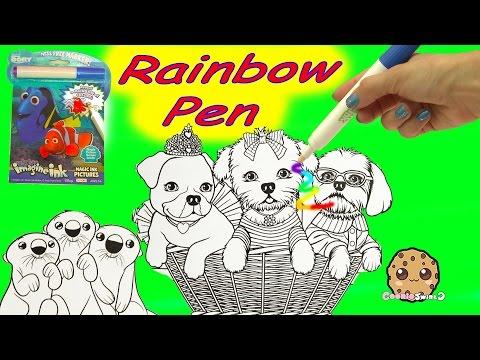 Disney Pixar Finding Dory + Lisa Frank Puppy Imagine Ink Rainbow Color Pen Surprise Pictures