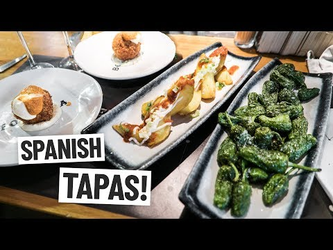 Spanish Food - DELICIOUS TAPAS at Barcelona's Boqueria Market! (Americans Try Spanish Food)