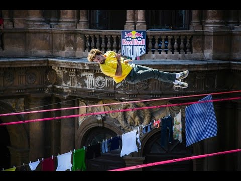italy - CLICK CC for English!!! Clotheslines across the balconies of Catania were replaced with slacklines for Red Bull Airlines 2014, where the world's best slackliners showcased their tricklining...