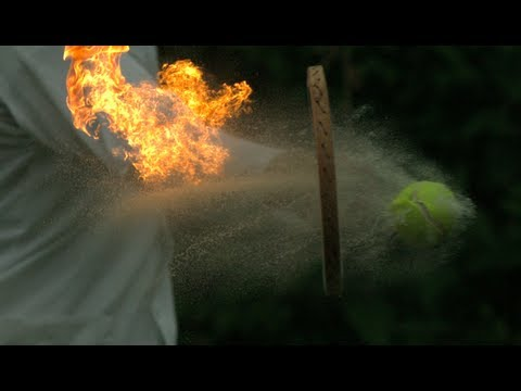 Tennis Ball Being Hit On Fire At 2500fps
