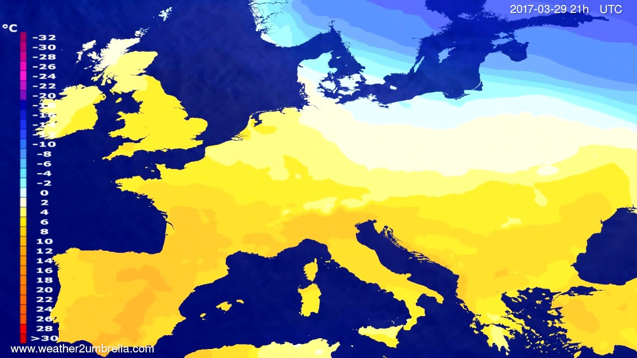Temperature forecast Europe 2017-03-26