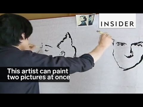 Talented Ambidextrous Artist Can Paint Two Pictures at Once
