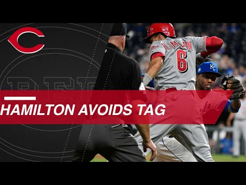 Hamilton evades the tag to set up Reds' big inning