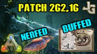 In the patch 262,16 the Eels got nerfed huge! They no longer stun lock and dismount. The Yutyrannus courage buff now provides damage resistance! This is going to make underwater life a lot better and boss fights easier.- Chance of Wild Eels reduced by 33%- Wild Eels aggro range reduced by 33%- Wild & Tamed Eels shock no longer causes stun lock or dismount, and instead applies a temporary movement and damage debuff- Yuty courage buff now provides +20% damage resistance SUBSCRIBE to learn more about ARK!http://www.youtube.com/subscription_center?add_user=jonesy-gamingPATREON: Let's support each other!https://www.patreon.com/JonesyGamingHOST your own ARK server?https://hosthavoc.com/billing/aff.php?aff=589