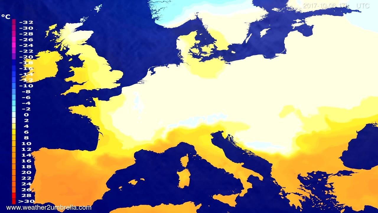 Temperature forecast Europe 2017-10-04