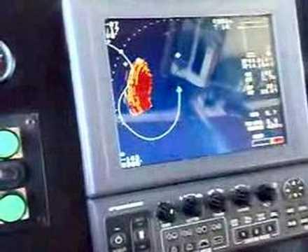 pesca de cerco...espectacular lance visto desde un sonar!!
