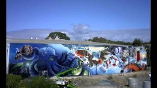 Timelapse of huge street spray art mural - Fremantle Australia