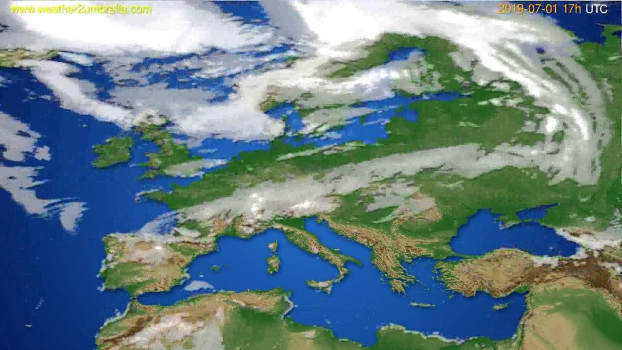 Cloud forecast Europe // modelrun: 00h UTC 2019-06-30