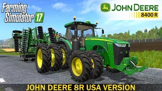 JOHN DEERE 8R USA VERSION- Full IC- animated- Indoor sound- Full customizable- No errors- New LED Lights- Clean Log- And moreDeveloper website FS 17 - http://www.farming-simulator.comWebsite mods - https://www.modsgaming.usFS 17 fan group facebook - https://www.facebook.com/groups/FarmingSimulatorMods/FS 17 fan group VK - https://vk.com/farming_simulator_2013_gamePlaylist FS 17 - https://www.youtube.com/playlist?list=PL54hHM4RuNpdwE1PKqLxgb5r59byxQTolLink Mod JOHN DEERE 8R USA - https://www.modsgaming.us/load/farming_simulator_2017/fs17_tractors/john_deere_8r_usa_v3_0_0_1/11-1-0-1251Link Mod JOHN DEERE 2623 DISC PACK - https://www.modsgaming.us/load/farming_simulator_2017/fs_17_cultivators/john_deere_2623_disc_pack_v_1_0_0_0/20-1-0-1267Link Mod JOHN DEERE 915 V RIPPER - https://www.modsgaming.us/load/farming_simulator_2017/fs_17_plows/john_deere_915_v_ripper_v1_0/19-1-0-254Link Map GIFTS OF THE CAUCASUS - https://www.modsgaming.us/load/farming_simulator_2017/fs_17_maps/map_gifts_of_the_caucasus_v2_0_3/28-1-0-113