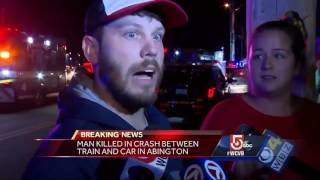 Man killed in crash involving commuter rail trainSubscribe to WCVB on YouTube for more: http://bit.ly/2526UpSGet more Boston news: http://www.wcvb.comLike us: https://www.facebook.com/wcvb5Follow us: https://twitter.com/WCVBGoogle+: https://plus.google.com/+wcvb