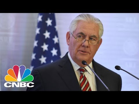 Outgoing Secretary Of State Rex Tillerson Briefs Media After White House Firing   CNBC