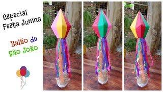 Vamos fazer o Balão de São João com 4 cores?? Balão feito, montaremos um fácil e bem bonito centro de mesa para festa junina! Material: 4 folhas coloridas ...