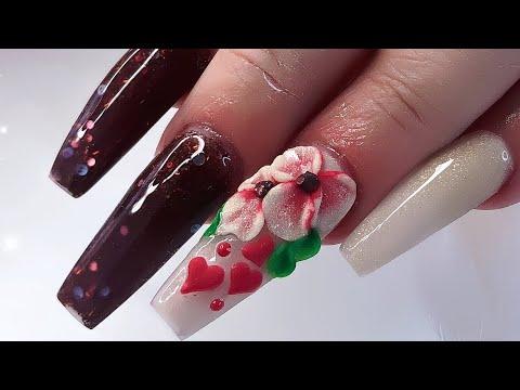Diseños de uñas - Easy Valentine's Day/Diseño de uñas para San Valentín Flor 3D