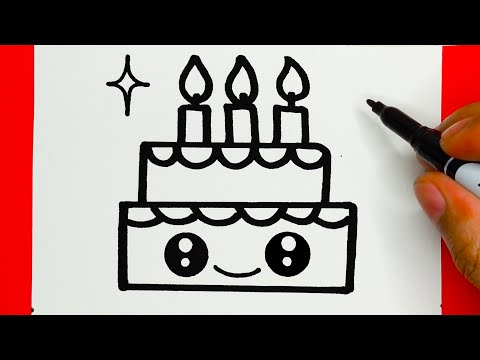 HOW TO DRAW A CUTE CAKE, DRAW CUTE THINGS