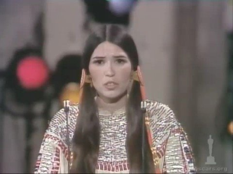 "Sacheen Littlefeather declines an Oscar for ""The Godfather"" on behalf of Marlon Brando due to treatment of Native Americans in film"