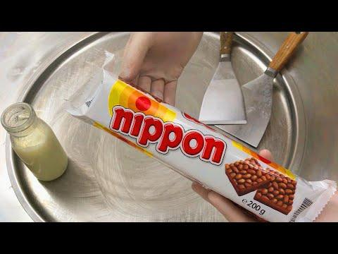 Chocolate Rice Cake Ice Cream Rolls | how to make crispy nippon ice cream Krispies