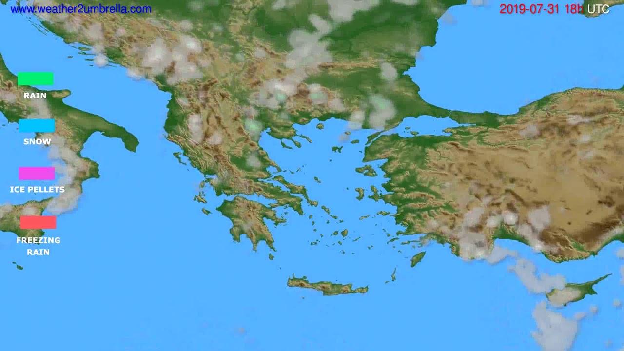 Precipitation forecast Greece // modelrun: 00h UTC 2019-07-29