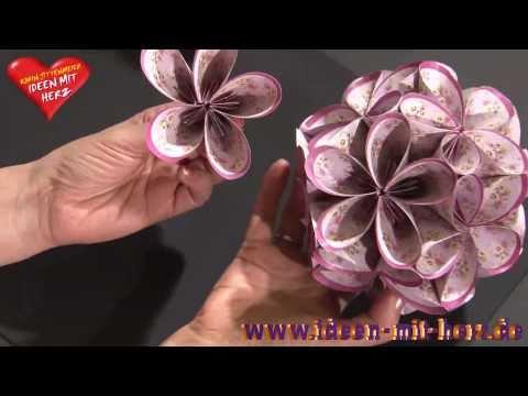 Ideen mit Herz - Fleurogami - Blütenkugel mit ovalen Faltpapieren