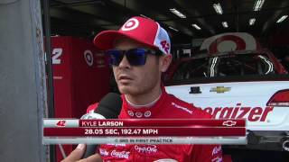 Kyle Larson hits the wall in practice at Charlotte