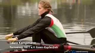 Laura Kampmann im Interview zur Scheckübergabe in Höhe von 4.500 Euro zur Finanzierung ihres neuen Rennbootes durch...